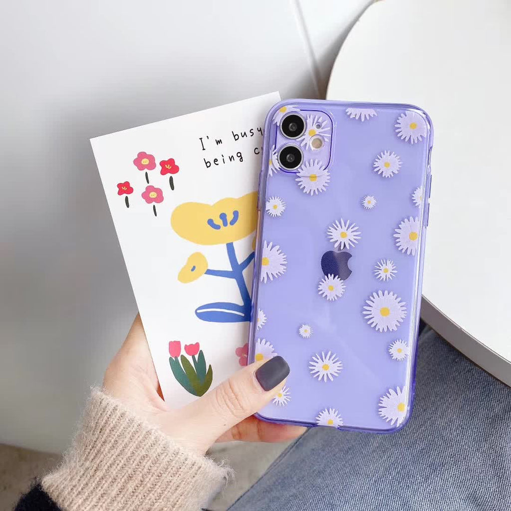 lovebay Fashion Daisy Flower Phone Case For iphone 11 Pro X XS Max XR Soft TPU Case