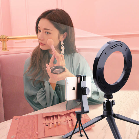 mini Photographic Lighting Dimmable LED Ring Light Photo Studio Phone Ring Lamp Photography For Youtube Makeup Selfie & Tripod
