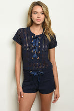 Load image into Gallery viewer, NAVY TOP & SHORTS SET - Ding's Place