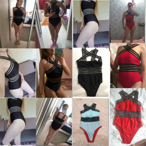 One Piece Swimsuit Women High Neck Bandage Cross Back Neck Monokini Black Swimwear Women Bathing Suits Swimming Suit - Ding's Place