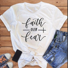 Load image into Gallery viewer, Faith Over Fear Christian T-Shirt Religion Clothing For Women Faith Shirt Graphic Fearless Slogan Vintage Grunge Tops Girl tees - Ding's Place