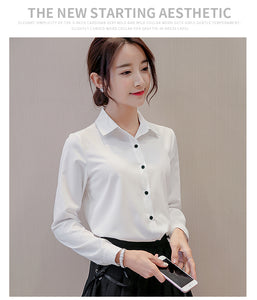 BIBOYAMALL Blouse Women Chiffon Office Career Shirts Tops Casual Long Sleeve Blouses Femme Blusa - Ding's Place
