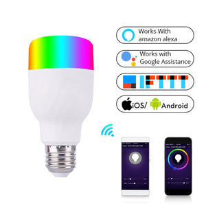 WiFi Smart Light Bulb Intelligent Colorful LED Lamp 7W RGBW APP Remote Control Works with Alexa Google for Smart Home E27 E26 - Ding's Place