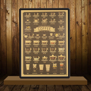 TIE LER Coffee Cup Daquan Bars Kitchen Drawing Poster Adornment Vintage Poster Retro Wall Sticker  51.5X36cm - Ding's Place