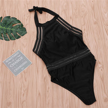 Load image into Gallery viewer, One Piece Swimsuit Women High Neck Bandage Cross Back Neck Monokini Black Swimwear Women Bathing Suits Swimming Suit - Ding's Place