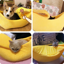 Load image into Gallery viewer, Banana Cat Bed House Cozy Cute Banana Puppy Cushion Kennel Warm Portable Pet Basket Supplies Mat Beds for Cats & Kittens - Ding's Place