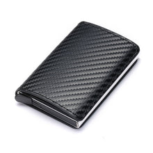 Load image into Gallery viewer, Business ID Credit Card Holder Men and Women Metal RFID Vintage Aluminium Box PU Leather Card Wallet Note Carbon - Ding's Place