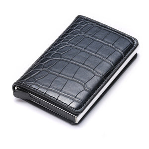 Business ID Credit Card Holder Men and Women Metal RFID Vintage Aluminium Box PU Leather Card Wallet Note Carbon - Ding's Place