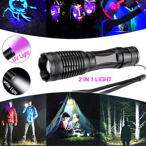 10000LM 2in1 UV Flashlight LED Linternas Torch 395nm Ultraviolet Urine Detector for camping Carpet Pet Urine Catch Scorpions - Ding's Place