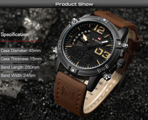 NAVIFORCE 9095 Men's Digital Sport Watch Wrist Watch For Men Top Brand Military Luxury Leather  LED Quartz Men's Watch - Ding's Place