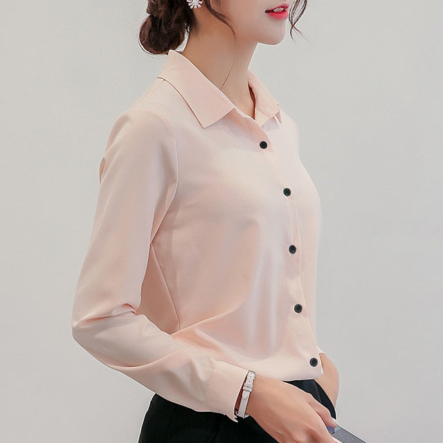 BIBOYAMALL White Blouse Women Chiffon Office Career Shirts Tops Fashion Casual Long Sleeve Blouses Femme Blusa - Ding's Place