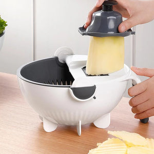 Magic Multifunctional Rotate Vegetable Cutter With Drain Basket Kitchen Veggie Fruit Shredder Grater Slicer - Ding's Place