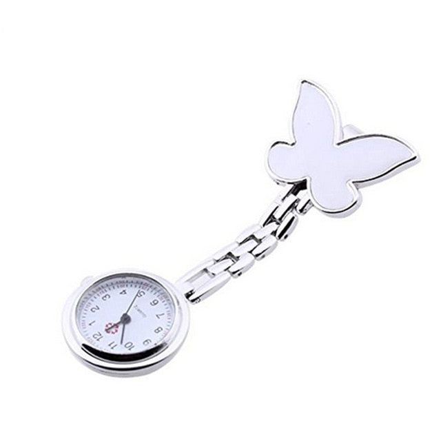Fashion Butterfly Stainless Steel Nurse Clip-on Fob Brooch Pendant Hanging Pocket Watch clock relogio feminino mujer Hot Sale @F - Ding's Place