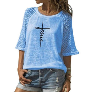 Fashion Lace Crew Neck T-Shirt Faith Letters Print T-Shirt For Women T-Shirt Women Plus Size Female Tumblr Funny Summer Tops - Ding's Place