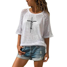 Load image into Gallery viewer, Fashion Lace Crew Neck T-Shirt Faith Letters Print T-Shirt For Women T-Shirt Women Plus Size Female Tumblr Funny Summer Tops - Ding's Place