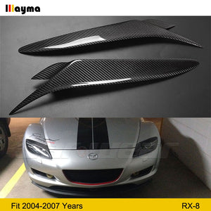 Real Carbon Fiber Headlight Eyebrows Eyelids Cover For Mazda RX8 2004 2008 RX 8 fiber glass Black primer eyebrow 1 pair - Ding's Place