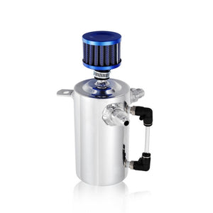 High Quality 0.5L/500ml Racing Car Aluminum Oil Catch Can/Breather Round Fuel Tank With 12mm Blue Oil Filter Universal - Ding's Place