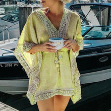 Load image into Gallery viewer, Women's Beach Cover Ups Boho Beach Lace Short Casual Dress Collect Waist Swimwear Kaftan Batwing Swimsuit Cover Up - Ding's Place