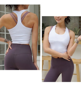 Women's Running Fitness T Shirts Sexy Crop Top Workout Quick-Dry Yoga Tank Tops Elastic Tight Gym Clothes - Ding's Place