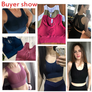 Peeli  Seamless Sports Bra Top Fitness Women Racerback Running Crop Tops Pink Workout Padded Yoga Bra High Impact Activewear - Ding's Place