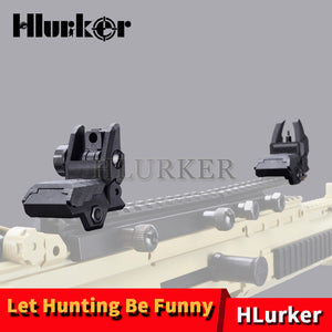 Hunting AR 15 Tactical Flip up Front Rear Sight Set Polymer Sights Windage Adjustment For 1913 Picatinny Rail handguards - Ding's Place