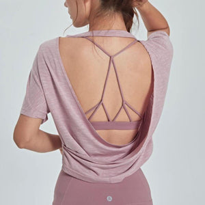 Open Back Pink Yoga Top Loose Fit - Ding's Place