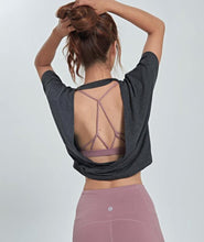 Load image into Gallery viewer, Open Back Pink Yoga Top Loose Fit - Ding's Place