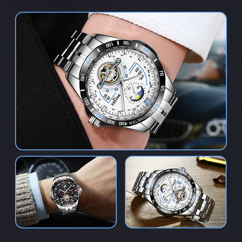 Automatic Mechanical Watch Men's Tourbillon Watch Male 316 Steel Watches 30m Waterproof Sports Clock Luminous - Ding's Place