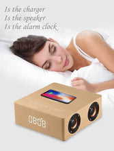 Load image into Gallery viewer, Q5A multi-function wireless charger alarm clock bluetooth speaker suitable for iPhone stereo music player music surround sound - Ding's Place