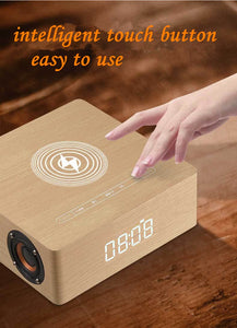 Q5A multi-function wireless charger alarm clock bluetooth speaker suitable for iPhone stereo music player music surround sound - Ding's Place