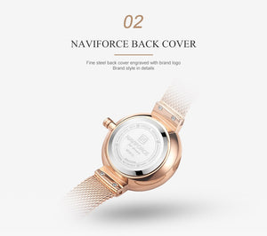 NAVIFORCE New Rose Gold Women Watches Dress Quartz Watch Ladies Top Brand Luxury Female Wrist Watch Girl Clock Relogio Feminin - Ding's Place