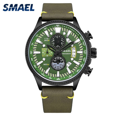SMAEL Men's Watch Double hollow windows Watch Men Luminous mode Watches Leather relogio masculino 9097 - Ding's Place