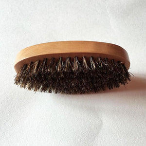 Men Boar Hair Bristle Beard Mustache Brush Military Hard Round Wood Handle Comb - Ding's Place