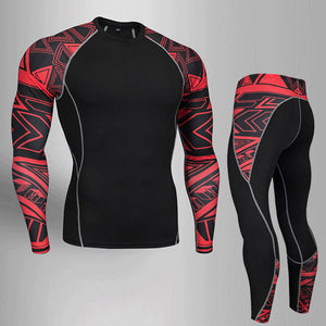 Men's tracksuit Clothes Compression Sports Suit Fitness MMA Kit rashguard Male Gym leggings Sportswear Running long tights  4xl - Ding's Place