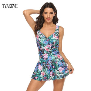 New Dot Print Tankini Set Swim Plus Size Swimwear Women Swimsuit Vintage Beach Bathing Suit Female Bandage Monokini S-5XL - Ding's Place