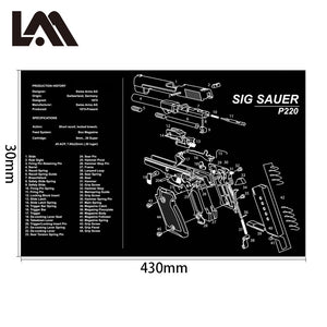 AR15 AK47 Gun Cleaning Rubber Mat With Parts Diagram Instructions Armorers Bench Mat Mouse Pad for Glock 1911 Beretta 92 HK USP - Ding's Place