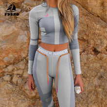 Load image into Gallery viewer, Yoga Set Fall Winter Tracksuit High Waist Leggings Sets Sport Suit Women Active Wear Fitness Clothing 2 Piece Set Women - Ding's Place