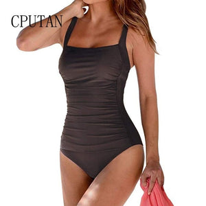 Push Up Women Swimwear Plus Size One Piece Swimsuit V Neck Beach Wear 2020 Bodysuit Swimming Suit Vintage Retro Bathing Suit 3XL - Ding's Place