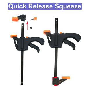 Quick Ratchet Release Speed Squeeze Wood Working Work Bar F Clamp Clip Kit Spreader Gadget Tools DIY Hand Tool - Ding's Place