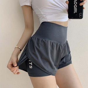 Women Mesh  Yoga Shorts High Waist Running Shorts  Quick Dry Gym Loose Wide Leg Fitness Shorts Gym clothing - Ding's Place