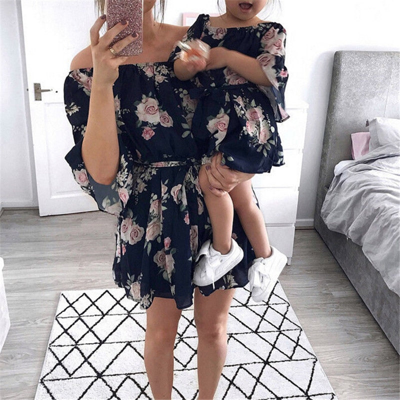 Mother Daughter Dresses Family Matching Outfits Off Shoulder Floral Dress Summer Chiffon Girl Women Boho Loose Dresses Sundress - Ding's Place