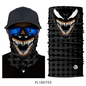 3D Seamless Venom Magic Bandana Neck Gaiter Summer Thin Tubular Ring Scarves Spiderman Sun Guard Face Headband Scarf Bicycle Men - Ding's Place