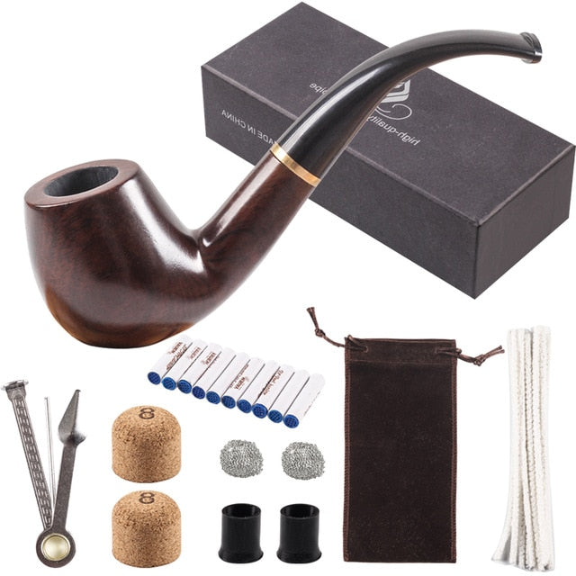 Pipe Smoking set, Smoking Pipe, Ebony Tobacco Pipe with Pipe Accessories - Ding's Place