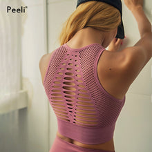 Load image into Gallery viewer, Peeli  Seamless Sports Bra Top Fitness Women Racerback Running Crop Tops Pink Workout Padded Yoga Bra High Impact Activewear - Ding's Place