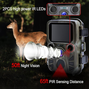 Mini Trail Camera Hunting Game Camera 12MP 1080P Outdoor Wildlife Camera with PIR Sensor 0.5s Fast Trigger Waterproof scouting - Ding's Place
