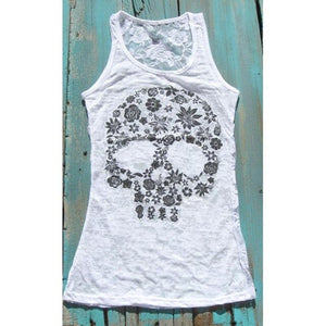 Women Tank Tops Summer Vest Punk Rock Skull Print Tank Casual Sleeveless Vest Women Clothing - Ding's Place