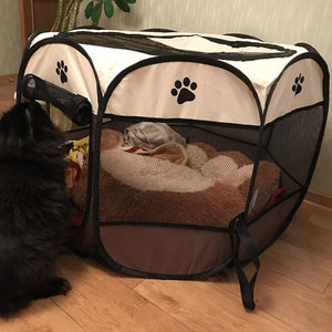 Portable Folding Pet tent Dog House Cage Dog Cat Tent Playpen Puppy Kennel Easy Operation Octagon Fence - Ding's Place