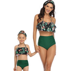 Riseado High Waist Bathing Suits Ruffled Swimsuit Mother and Daughter Bikinis  Beachwear Sexy Halter Bikini Set - Ding's Place