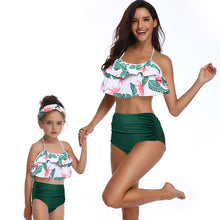 Load image into Gallery viewer, Riseado High Waist Bathing Suits Ruffled Swimsuit Mother and Daughter Bikinis  Beachwear Sexy Halter Bikini Set - Ding's Place