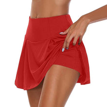 "Load image into Gallery viewer, "" Faith "" Gym Women Running Skirt High waist Safety Knickers Yoga Shorts Mesh Double Layer Patchwork Fitness Shorts Sports Short Skirt - Ding's Place"
